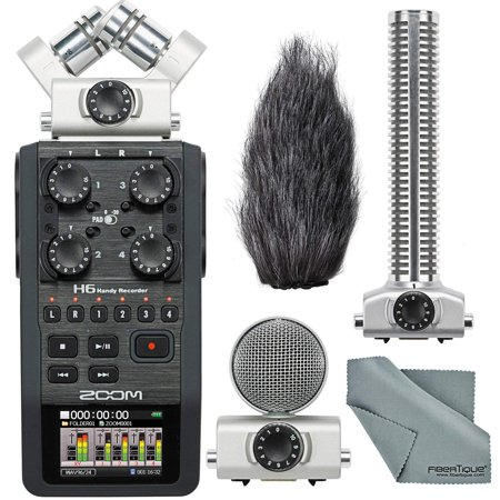 Zoom H6 Portable Recorder with Interchangeable Mic System Bundle Deluxe W/ Remote+Shockmount+Windscreen+16 GB +FiberTique Cloth and