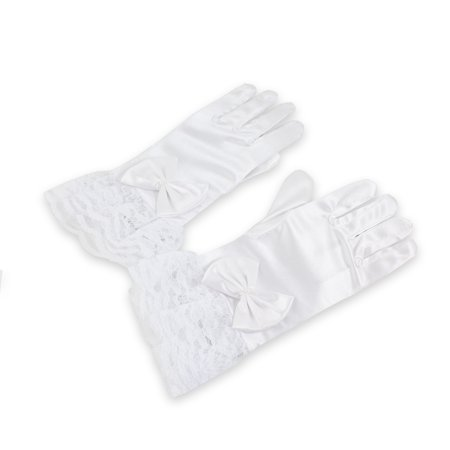 - Hot Girls Kids Satin Short Wrist GLOVES Wedding Holiday Formal Pageant Birthday