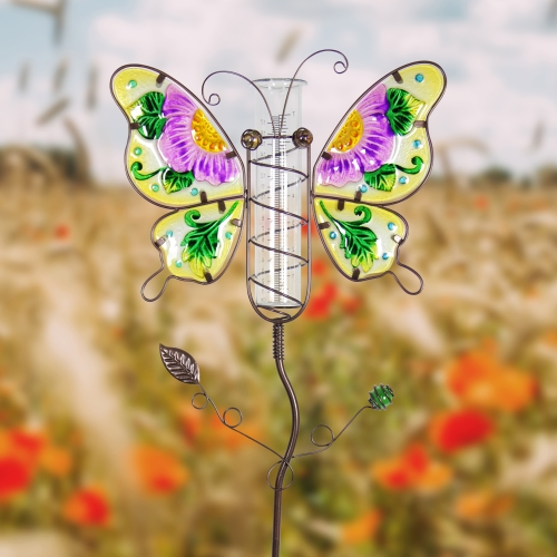 Exhart Butterfly Rain Gauge Garden Stake Hand Painted in Purple, Made of Glass and Metal