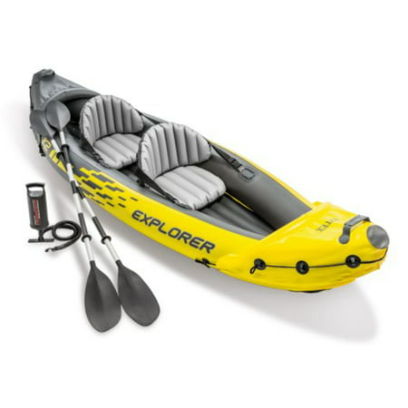 Intex Explorer K2 Inflatable Kayak with Oars and Hand Pump 2 Person Travel Kayak