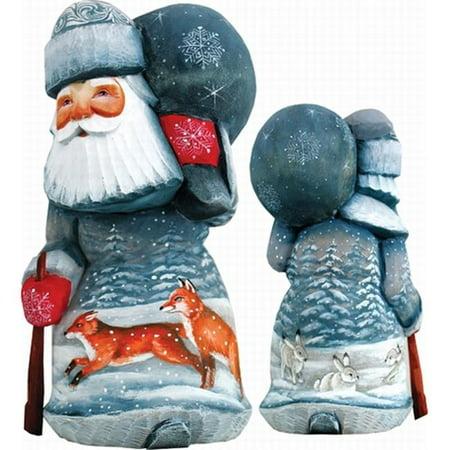 G.Debrekht 820204 Woodcarving Delightful Foxy Santa 6.5 in. - Woodcarved Santa
