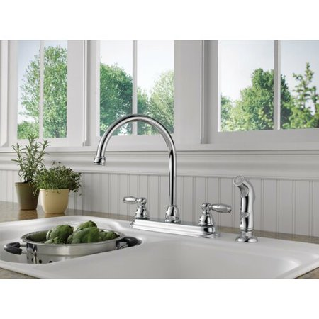 Peerless Claymore Two Handle Deck-Mount Kitchen Faucet in Chrome P299575LF