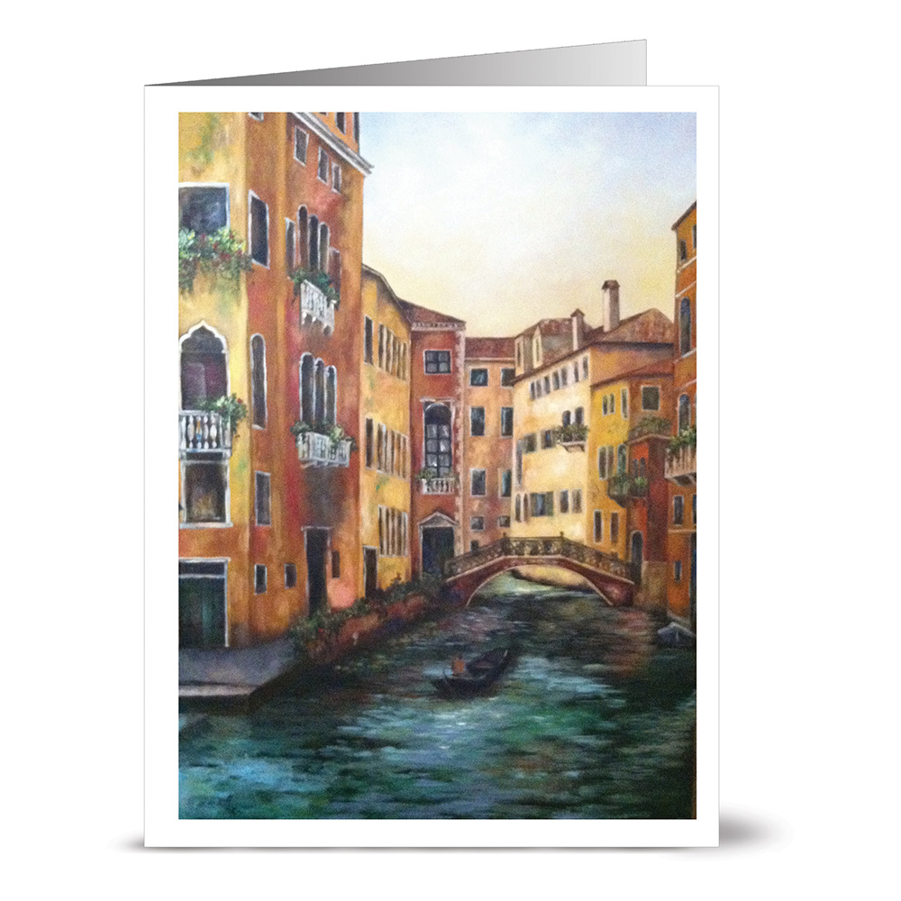 24 Note Cards - Venice Canal - Blank Cards - Off White Ivory Envelopes Included