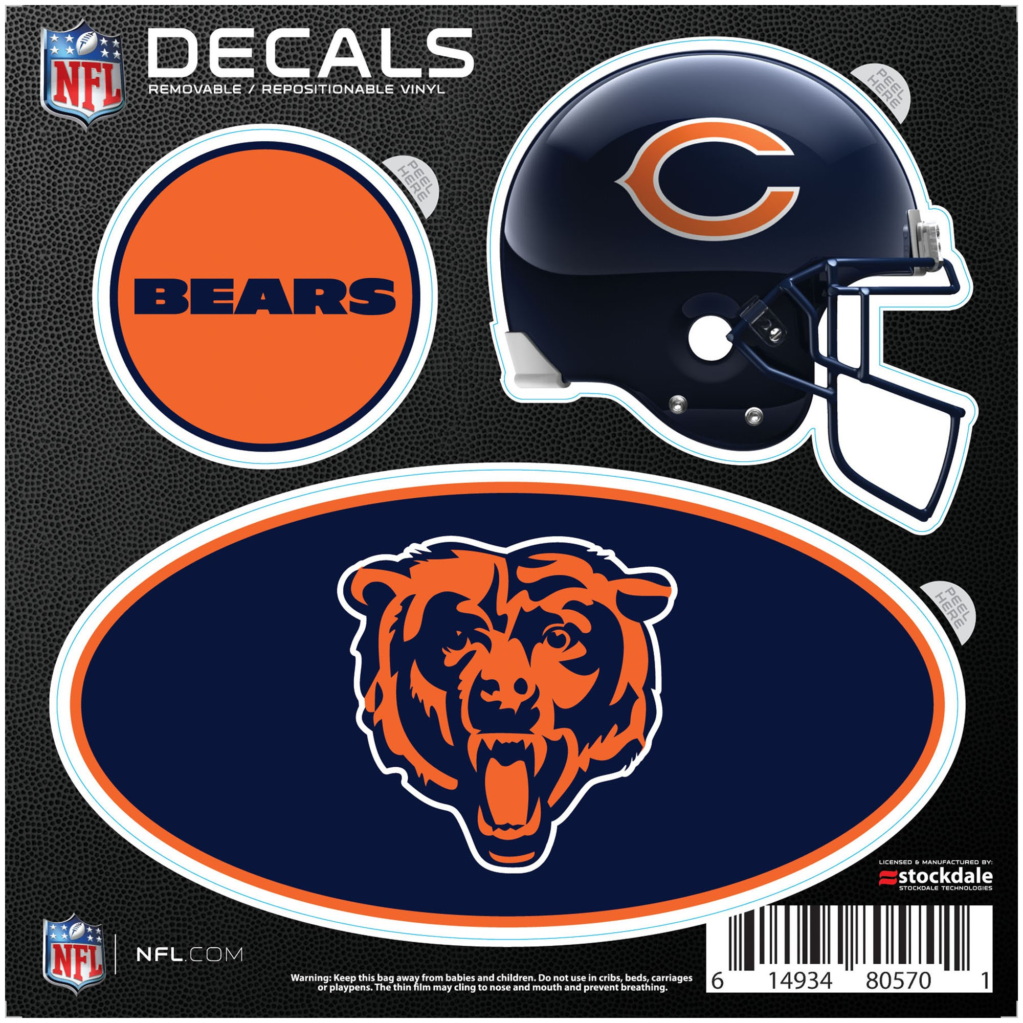Chicago Bears Repositionable 3-Pack Decal Set - No Size