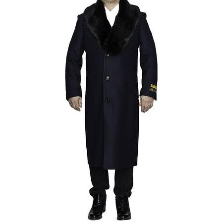 Alberto Nardoni Navy Blue Wool Blend With Removable Fur Collar Luxury Overcoat Topcoat Full Length