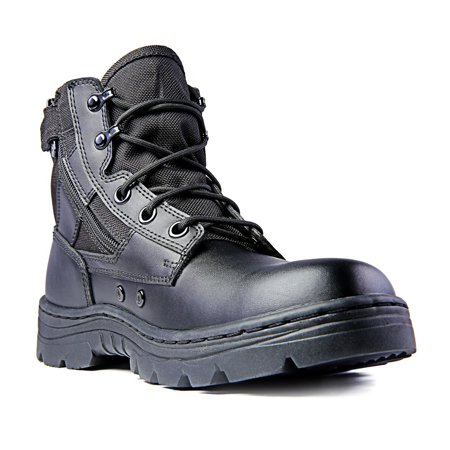 - Ridge Footwear 4205 Dura-Max Mid-Zipper Tactical Black Leather Boots 6-inch