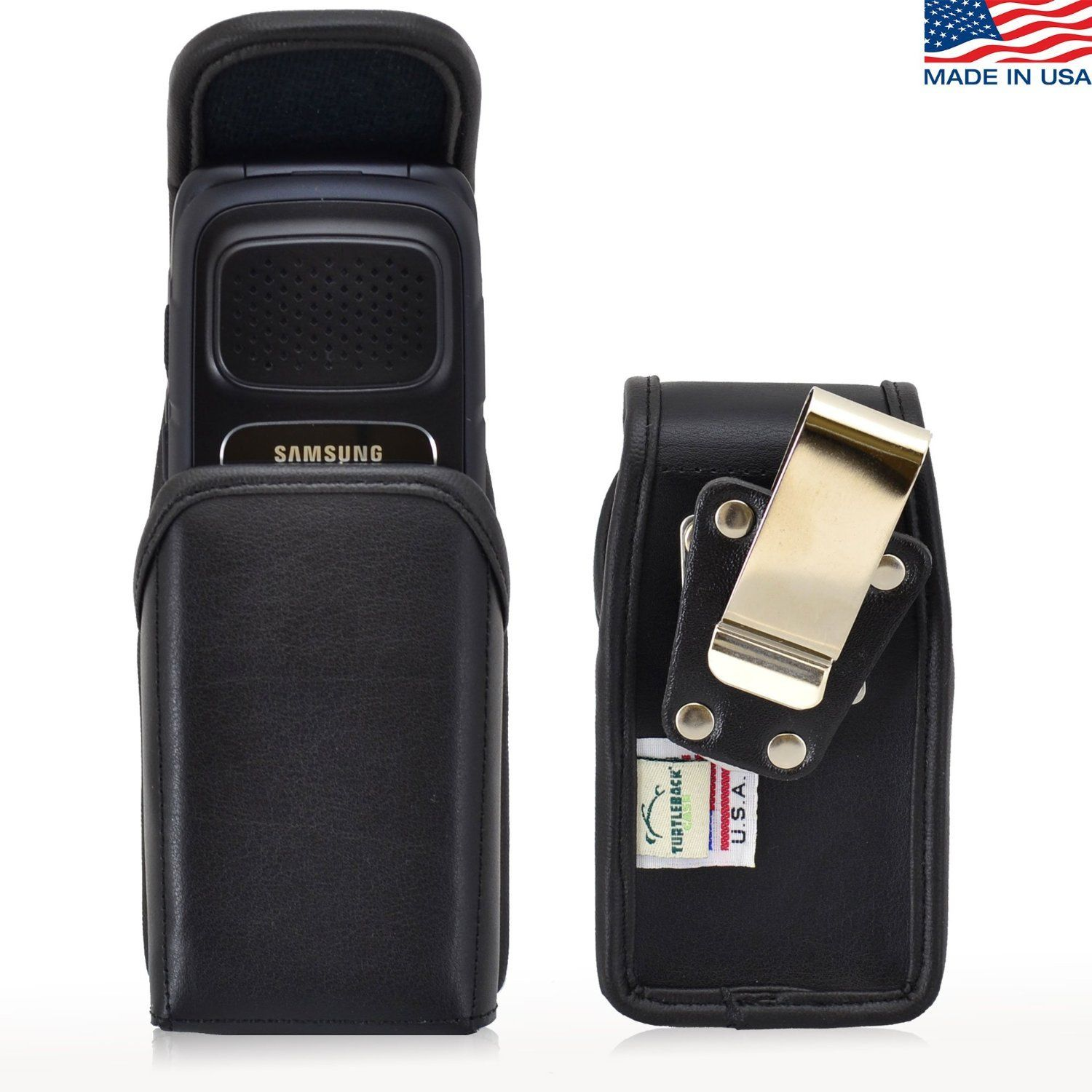 Turtleback Holster Compatible with Samsung Rugby 4, Flip Phone Pouch Case, Magnetic Closure (Black Leather / Rotating Clip) - Made in USA