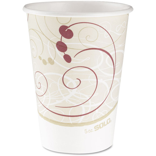 SOLO Cup Company Hot Cups, Symphony Design, 12 oz, Beige, 1000 ct
