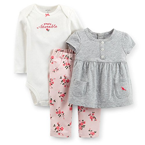 Carter's Baby Girls' 3 Piece Body Suit Pant Set (Baby) - Heather - Newborn