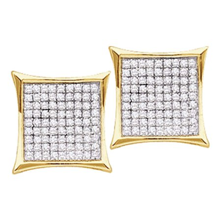 - 10kt Yellow Gold Womens Round Diamond Square Kite Cluster Stud Earrings 1/20 Cttw