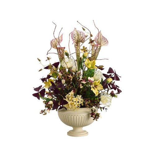 Tori Home 25'' Pitcher Plant, Hydrangea, Helleborus and Oncidium with Urn
