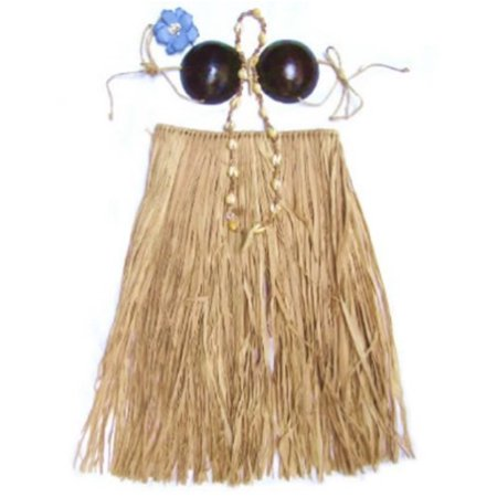 Hula Skirt Set Coconut Bikini Natural Adult Medium 31