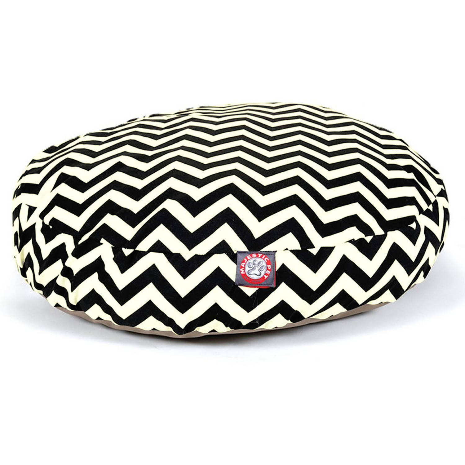 Majestic Pet Products Chevron Round Pet Bed, Black