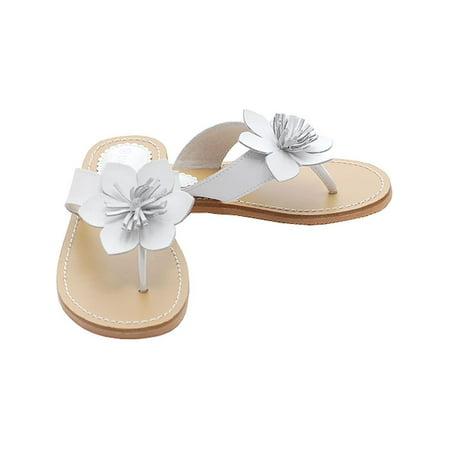 White Flower Flip Flops Spring Sandals Shoes Toddler Little Girls 7