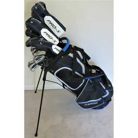 Mens Complete Golf Set - Adjustable Driver, Fairway Wood, 3,4,5 Hybrids Irons, Sand Wedge, Putter & Stand Bag Right Handed Regular