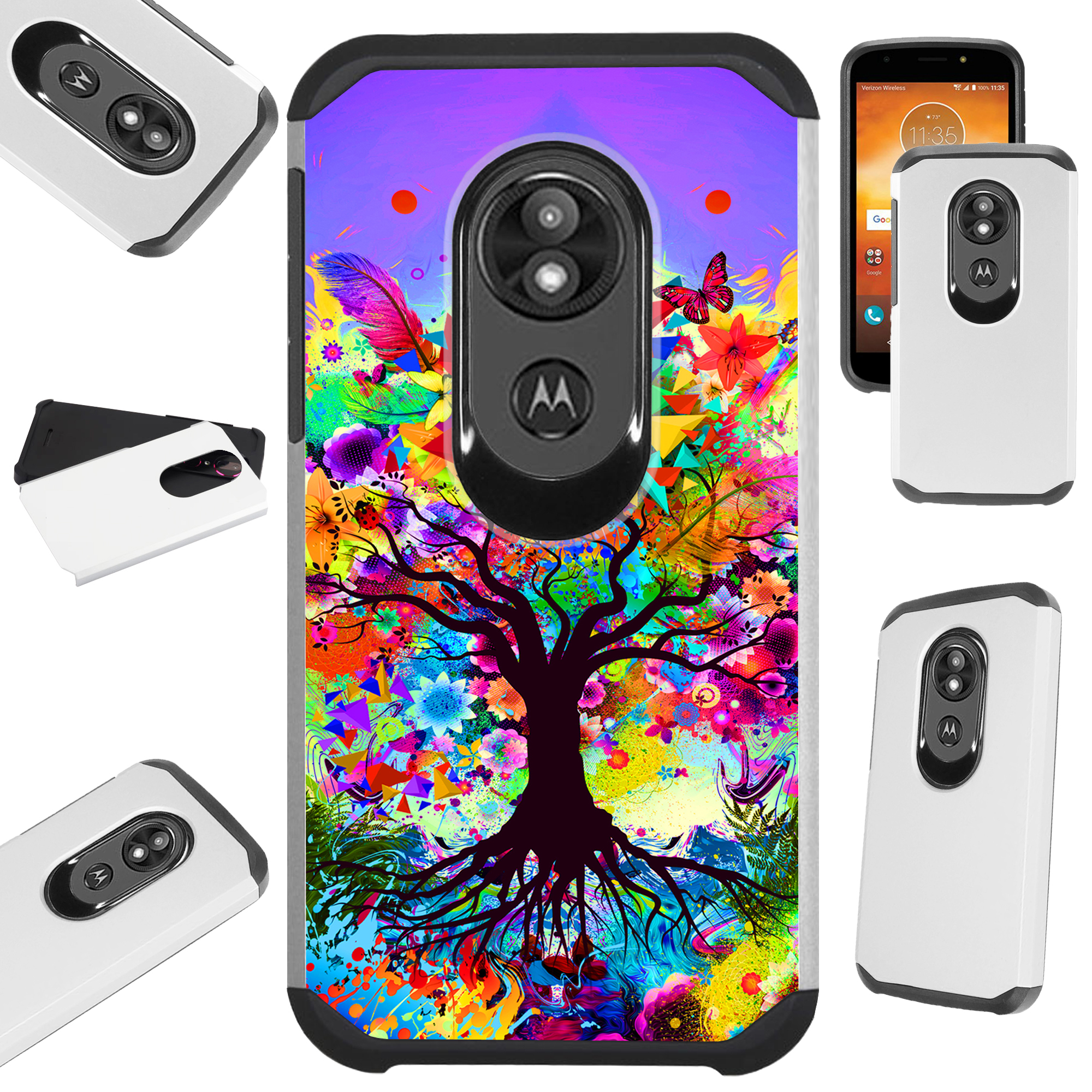 For Motorola Moto E5 Plus | Moto E5 Supra Case Hybrid TPU Fusion Phone Cover (Trippy Tree)