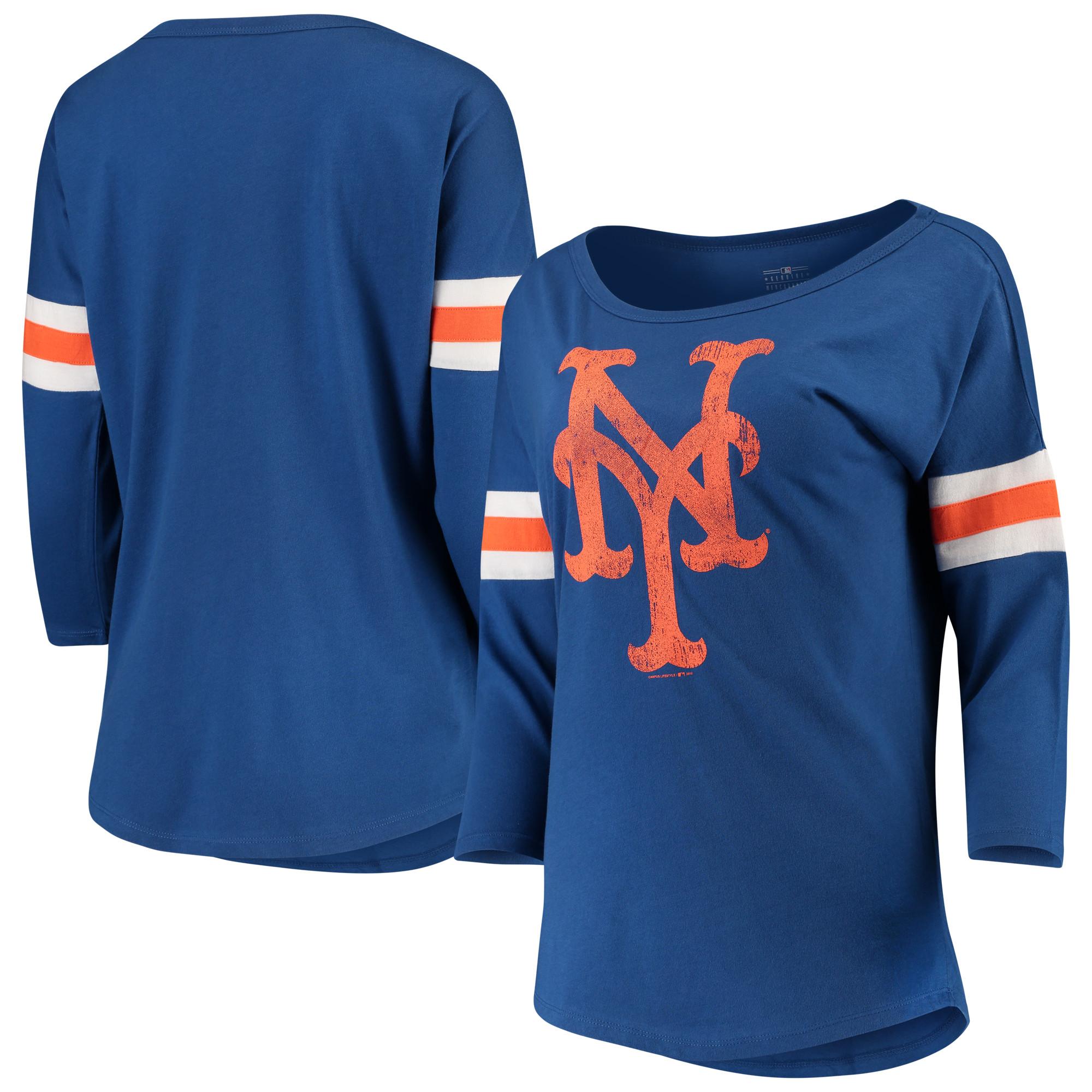 Women's New Era Royal New York Mets Scoop Neck 3/4-Sleeve T-Shirt