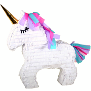 Unicorn Party Pinata with Gold Horn, White, 17in x 21in