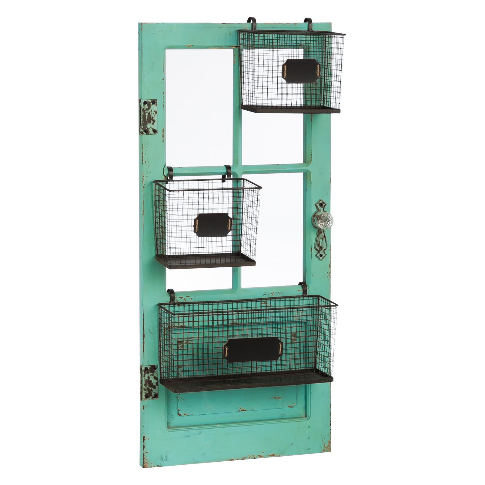 Evergreen Enterprises Distressed Vertical Door Frame with Metal Storage Baskets