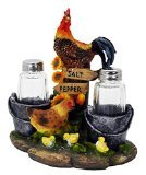 Picnic Salt /& Pepper Shakers Ceramic Rooster BBQ Party Shakers Spice Shakers