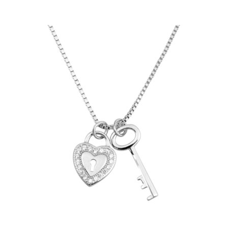 Heart And Key Necklace Sterling Silver With Jewelry Gift Box