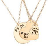 HEQU Necklace For Big Sister Middle Sister Little Sister Heart Moon Charm Pendant Necklace Family Jewelry