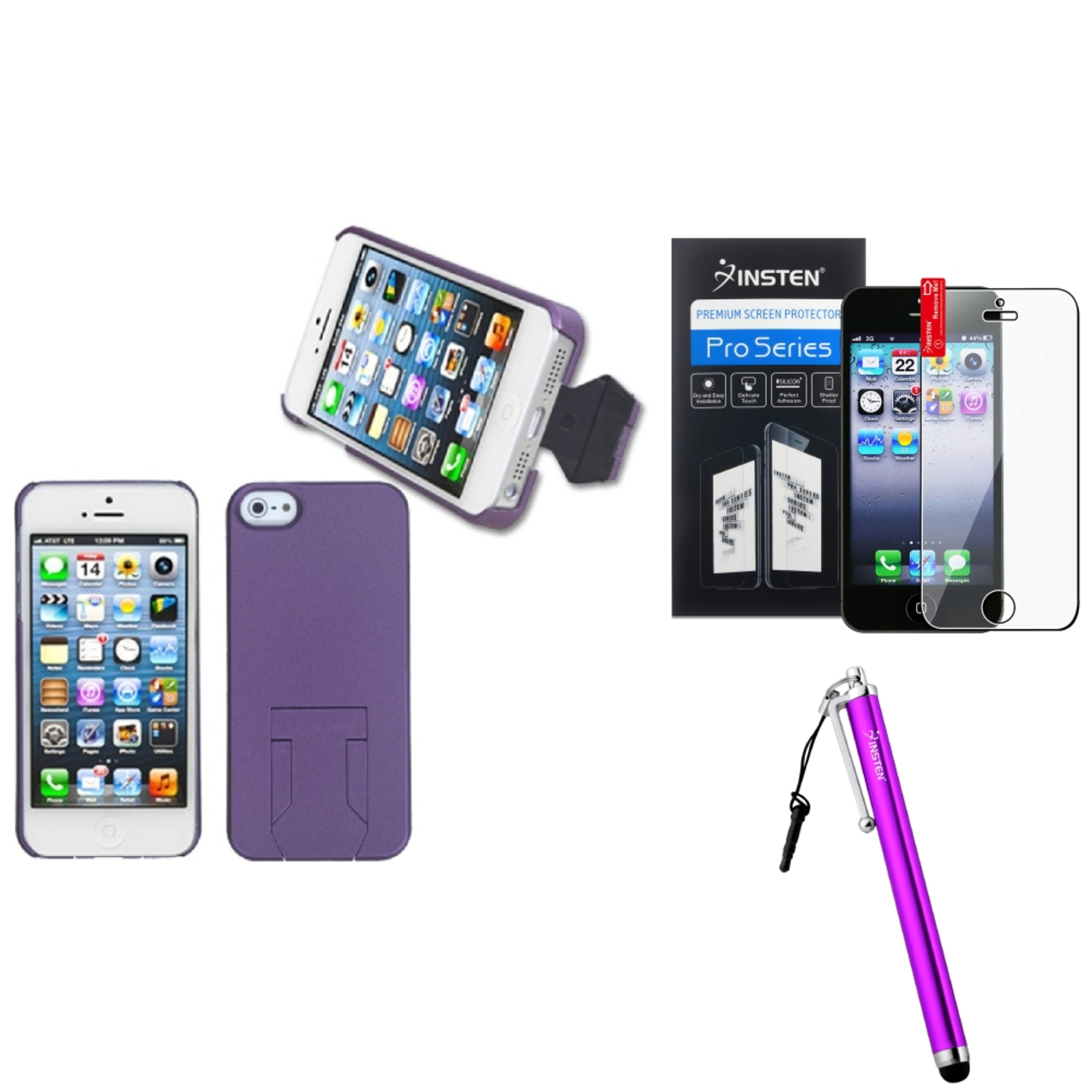 Insten Purple Back Case/ With Stand For iPhone 5S 5   Stylus   LCD Film