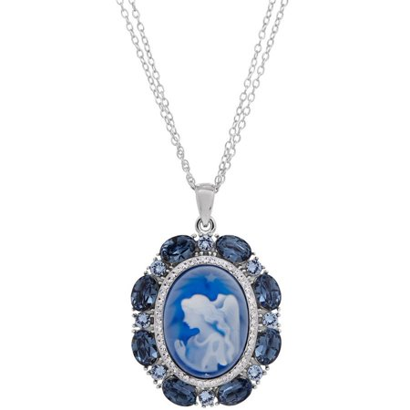 Brilliance Fine Jewelry Women's Swarovski Crystal Blue Angel Cameo Sterling Silver Pendant, 18