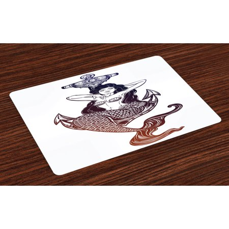 Sketch Scale (Anchor Placemats Set of 4 Sketch Style Mermaid with Seashells and Scales Mythological Creature Design, Washable Fabric Place Mats for Dining Room Kitchen Table Decor,Navy Blue and White, by Ambesonne )
