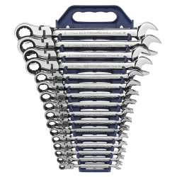 GearWrench 9902D 16-Piece Metric Flex-Head Combination Ratcheting Wrench Set