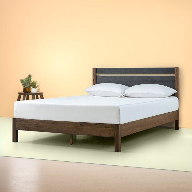 Wood Platform Bed With Headboard Queen