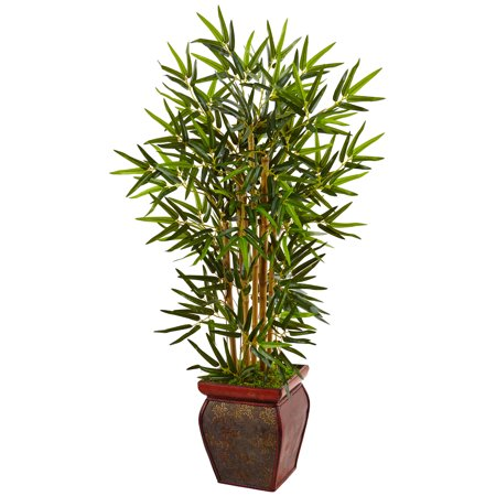 Faux Bamboo Tree - Nearly Natural 3.5 ft. Bamboo Artificial Tree in Wooden Decorative Planter