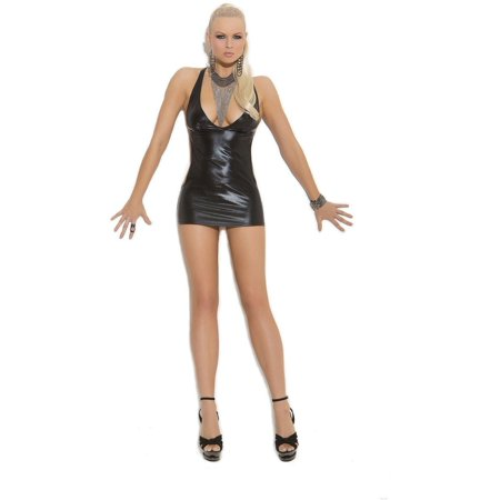 Elegant Moments EM-8274 Wet Look Slip style mini dress XL / Black