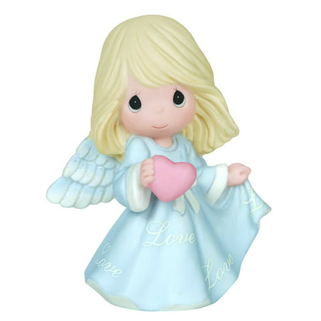 , Love Angel, Bisque Porcelain Figurine, 144021, In a gown of pale blue, this angel clutches a heart to share a message of heaven's greatest blessing –.., By Precious Moments ()