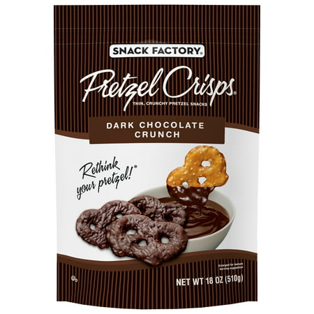 Snack Factory Pretzel Crisps, Dark Chocolate Crunch Covered Pretzels, 18 Oz