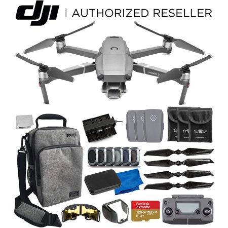 DJI Mavic 2 Pro Drone Quadcopter with Hasselblad Camera Bundle -Includes: 2x Extra Batteries, Bower Sidekick Bag for DJI Mavic Drone, 128GB MicroSD Memory Card, 4x Carbon Fiber Propellers, and More