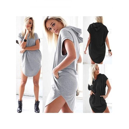 Girl12Queen - Girl12Queen Women s Summer Fashion Solid Color Hooded Long T-Shirt  Hoodie Sweatshirt Dress - Walmart.com 3a2d72d1d1