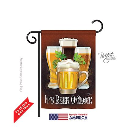 Breeze Decor 67028 Its Beer O Clock 2-Sided Impression Garden Flag - 13 x 18.5 in. - image 1 de 1
