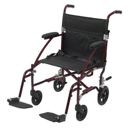 Drive Medical Fly Lite Ultra Lightweight Transport Wheelchair  Burgundy