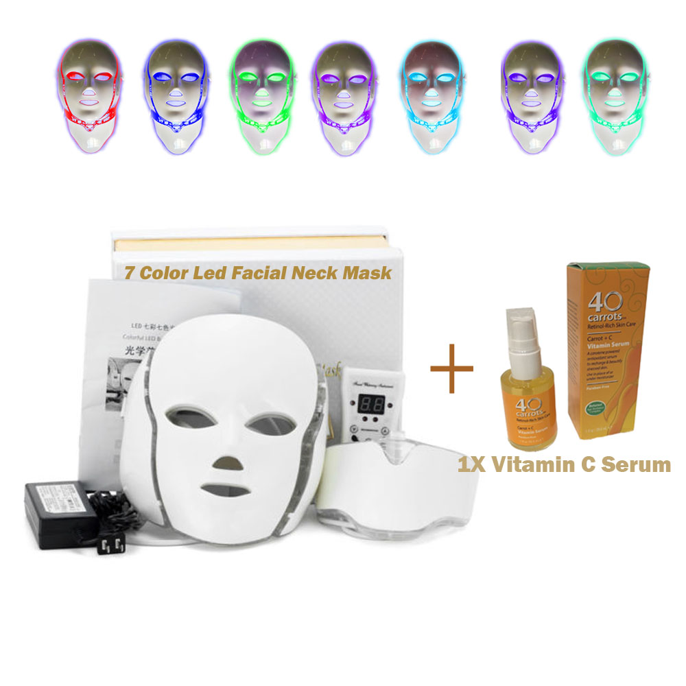 US 7 Colors LED Light Skin Therapy Mask Face Skin Rejuven...