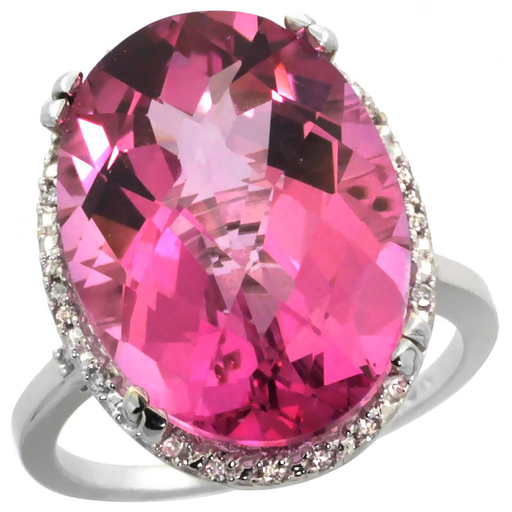 14K White Gold Natural Pink Topaz Ring Large Oval 18x13mm Diamond Halo, size 5 by Gabriella Gold