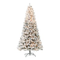 Holiday Time Pre-Lit Flocked Frisco Pine Christmas Tree, Clear Lights, 7.5