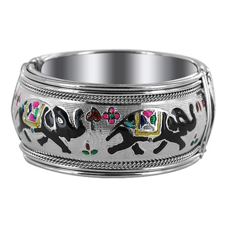 Silver Multi Color Stone Bracelet (Gem Avenue Silver Tone Elephant Design Fashion Bangle Bracelet 1.2 inch (2.4 inside 2.9 inch outside Diameters) )