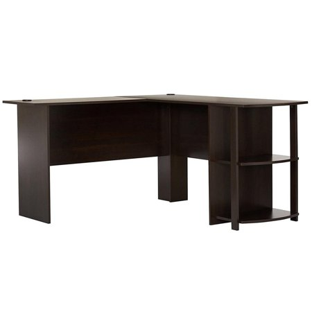 UBesGoo PC Table L-Shaped Computer Desk Office Workstation Laptop Shelves Dark Brown L-shaped Office Table