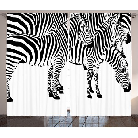 Safari Decor Curtains 2 Panels Set, Group Of Zebras African Animals Skin Print Stripes Jungle Wildlife Picture Art, Living Room Bedroom Accessories, Gift Ideas, By Ambesonne - Safari Ideas