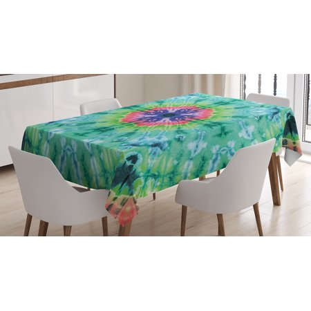 Tie Dye Decor Tablecloth, Distressed Background with Pleating Gradient Brushed Marble Effect Image, Rectangular Table Cover for Dining Room Kitchen, 60 X 84 Inches, Green Pink, by - Tie Dye Tablecloth