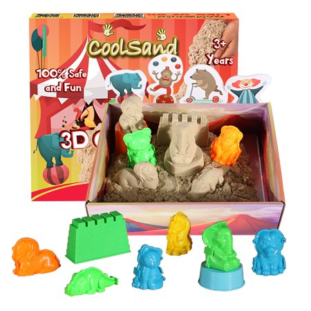 CoolSand 3D Sandbox - Circus Edition - Set Includes: 2 Lb Moldable Indoor Play Sand, 3D Shaping Molds & 3D Tray, Natural …