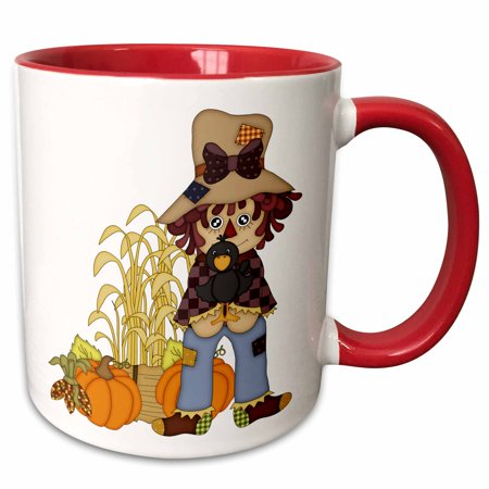 3dRose Cute Fall Scarecrow With A Crow and Pumpkins For Autumn - Two Tone Red Mug, 11-ounce - Cute Scarecrow