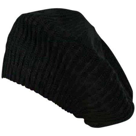 Black Knit Soft Traditional Tami Beret Cap Hat