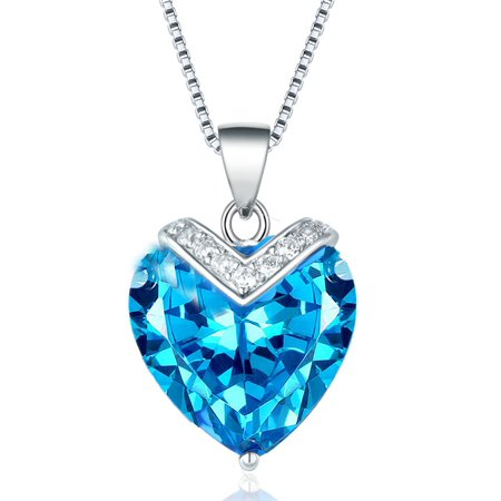 Devuggo Sterling Silver Simulated Blue Topaz Heart Shaped Pendant Necklace, 18